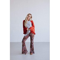 Cher Printed Flare Pants - Red Paisley