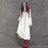 2017 New Summer Ethnic Vintage Emboidery Cotton Linen Dresses Women O-Neck Loose Long Lantern Sleeve Casual Boho Dress Vestidos