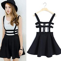items! Women's Sexy Pleated Suspender Skirt Brace Hollow Out Bandage Mini Skater 5FDSWE6
