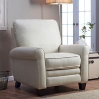 Soft Cream Bonded Leather Upholstered Club Chair Recliner with Espresso Legs