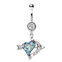 316L Stainless Steel Heart Arrow and Bow Dangle Navel Ring