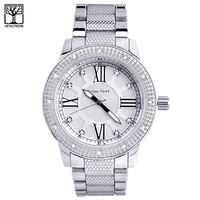 Jewelry Kay style Men's Silver Plated Metal Band Bling Iced Out Stoned Hip Hop Watches WM 1298 S