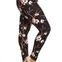 Plus Size Cherry Blossom Print Leggings
