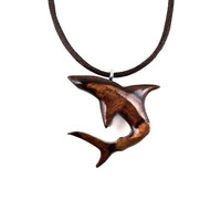 Shark Necklace, Shark Pendant, Mens Shark Necklace, Mens Shark Pendant, Nautical Jewelry, Mens Necklace, Wood Shark Necklace, Wood Pendant