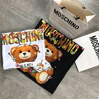 Moschino 2020 early lantern bear Gold Letters Colorful Light T-shirt