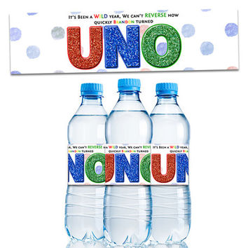 Uno Birthday Water Bottle Labels - Uno Party Favors - Uno Decoration - Uno Birthday Party - 1st Birthday Party Favors - Decor - girl - boy