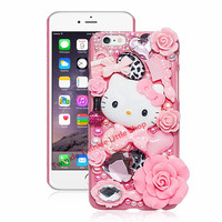 Cute Hello Kitty Rhinestone Crystal Pearl 3D Case For iPhone Back Cover Phone Cases For apple iphone