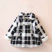 2016 autumn winter children clothing baby girl double breasted plaid woolen jacket coat girl children fleece lining outwear