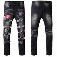 kanye Brand European American Style Stretch Men Jeans Luxury Men's Denim Trousers Slim Straight rockstars Gentleman Mens Stretch
