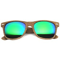 Indie Wood Print Horned Rim Mirrored Lens Sunglasses 9997