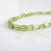 Peridot Gemstone Green Exceptional Smooth rectangle 6 to 7mm 1/2 Strand 20 beads Wholesale
