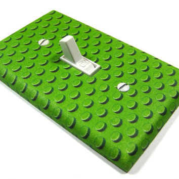 Green Lego Bedroom Decor Light Switch Cover Boys Nursery Decoration Geekery Building Blocks