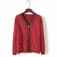 FILA trend women's fashion wild V-neck lazy wind retro sweater Red