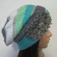 Multi Colored Striped Recycled Sweater Slouch Beanie With Grey Chiffon Flowers and Smokey Grey Accents Winter Hats Sweater Hats Accessories