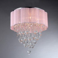 Eos 6-Light Chrome & Crystal Ceiling Lamp with Light Pink Shade RL7918-6