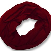 Peach Couture Cotton Soft Touch Vivid Colors Infinity Loop Scarf Scarves Jersey Knit Maroon