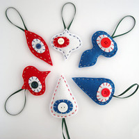 Patriotic Christmas ornaments -  Retro felt decor in red, white and blue - holiday ornament - set of six