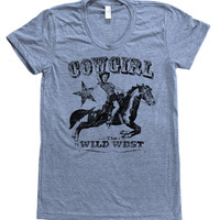 COWGIRL Women Triblend Shirt  Custom Hand Screen Printed American Apparel Available: S, M, L, XL