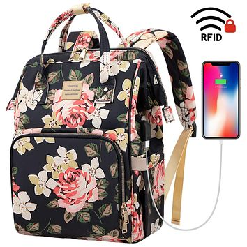 Laptop Backpack,15.6 Inch Stylish College School Backpack with USB Charging Port,Water Resistant Casual Daypack Laptop Backpack for Women/Girls/Business/Travel (Flower Pattern) A-flower