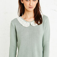 Cooperative Embroidered Collar Jumper in Green - Urban Outfitters