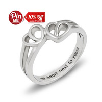 Promise Ring Double Hearts My Heart Next to Yours Best Gift for Girlfriend, Boyfriend