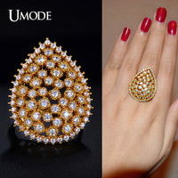 UMODE Asteria Series Tear Drop Dome Shaped Multi Prongs Cubic Zirconia Finger Ring Gold Color Jewelry Top Quality UR0190A