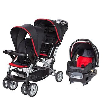 Red, Green or Pink Double Sit N Stand Twin Stroller Travel System Bundle with Car Seat Combo