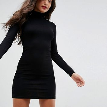 ASOS Mini Rib Bodycon Dress with Turtleneck at asos.com