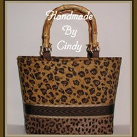 Gold Leopard Purse Tote Hand Bag Brown Cheetah Bamboo Handles Small