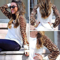 White Leopard Print Sweater