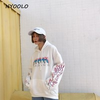 NYOOLO Autumn winter Plus velvet hoodies Flame cat white hoody long sleeve hooded pullovers fleece Sweatshirt women men clothing