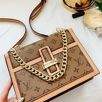Inseva Louis Vuitton LV Classic printed letters colorblock ladies chain crossbody bag shoulder bag