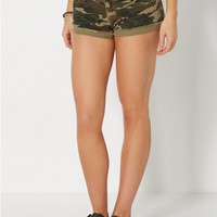 Camo Cuffed High Waisted Twill Short