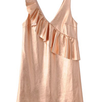 Rose Gold V-neck Ruffle Detail Vest Dress