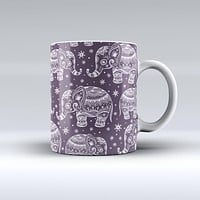 The Purple Sacred Elephant Pattern ink-Fuzed Ceramic Coffee Mug