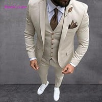 2018 Latest Coat Pant Designs Wine Red Men Suit Slim Fit 3 Piece Tuxedo Groom Wedding Suits Custom Prom Blazer Terno Masculino