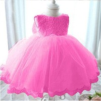 2017 Summer Quality Princess White Wedding Gown Baby Girl Lace Dresses Tutu Kids Party Clothes For Toddler Girl Costume 2-8 Year