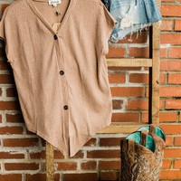 Closer Than Ever Ribbed Front Tie Button Down Top