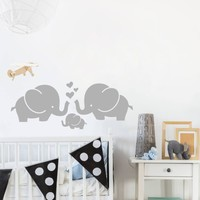 Cute Elephant Hearts Family Wall Decals for Baby Room Decor Kids Room Wall Stickers