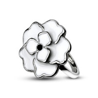 White Cherry Blossom - Adorable Floral Design White and Stainless Steel Pretty Ring