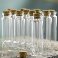 Mini Corked Jar Tube Bottle Favor Souvenir, 12-Piece