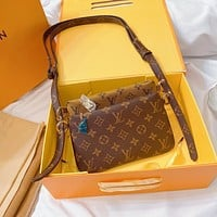 Louis Vuitton LV New Women's Embossed Letter Tri-Color Panel Crossbody Bag Shoulder Bag