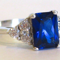 Vintage Ring Sterling Silver Jeweled Blue Sapphire & Faux Diamond Ring size 7