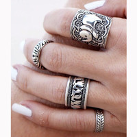 Vintage Style Animals Midi Ring Set