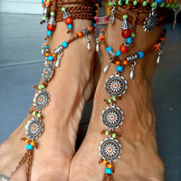 Reserved / BAREFOOT Bohemian WEDDING barefoot sandals BROWN Toe Anklets crochet Sandals sole less shoes crochet anklets antique flowers