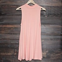 Final Sale - BSIC - Solid High Neck Tank Mini Dress in Coral