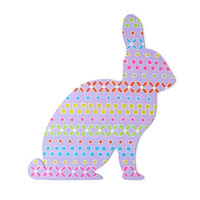 Easter Bunny wall decor, hand painted wooden Easter rabbit wall hanging, colorful folk art holiday decor
