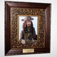 JOHNNY DEPP Signed Autograph PIRATE Disney Prop COIN, 1600s COB, gold NUGGET, Blu Ray DVD Boxed Set, UACC, COA, FREE U.S. SHIP!!!