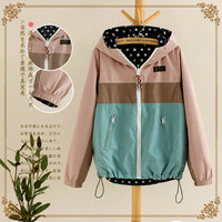 Double Side polka Dot Hooded Zipper Pocket Jacket