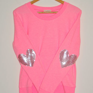 "The ""Dazzle Patch"" Bright Pink Sweatshirt w/Heart Sequin Elbow Patch"
